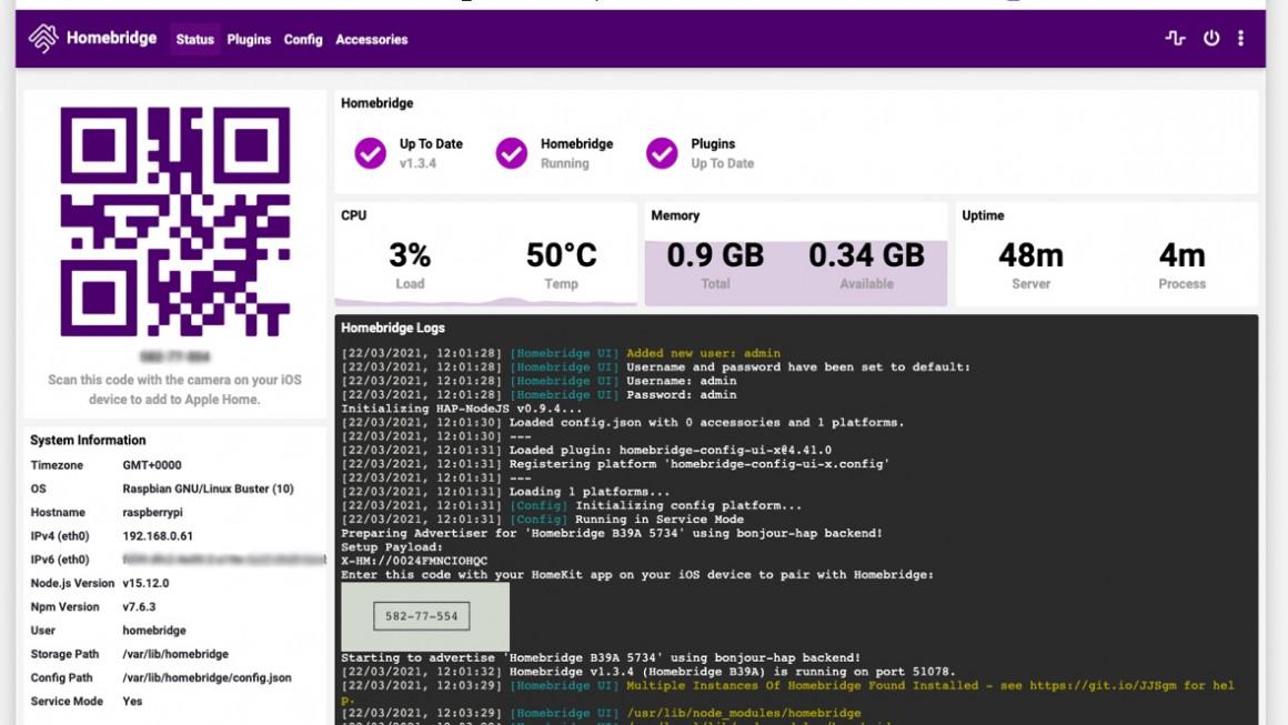 Interfaz web de Homebridge